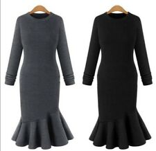 Women Winter Long Sleeve Knitwear Bodycon Knitted Sweater Jumper Dress Plus Size