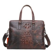 100% Genuine Leather Crocodile Grain Laptop Business Bag Shoulder Briefcase