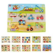 Lovely Wooden Puzzle Cartoon Kids Baby Educational Learning Puzzle Toys
