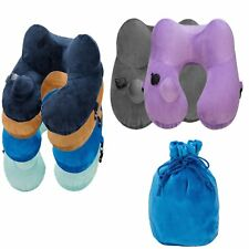 Automatic Inflatable U Shaped Travel Pillow Neck Head Rest Airplane Car Cushion
