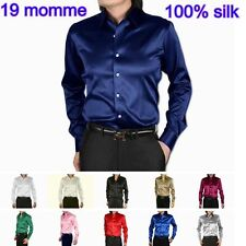 Mens 19 Momme 100% Pure Silk Dress Business Shirts Long Sleeve Aisilk