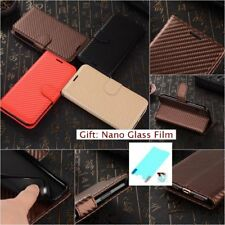 CARBON FIBER FASHION LUXURY LEATHER HYBRID Flip TPU RUGGED Cover Case For iPhone