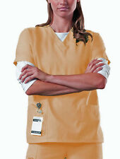 NEW Scrub Top Unisex Nursing Medical Uniform Medium MUSTARD YELLOW Pocket A85