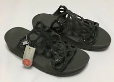 Fitflop Women's Shoes Bumble Crystal Slide Sandals Pewter H70-054 Sz 7 8 9 NIB