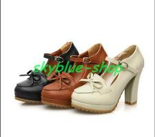Retro Womens Brogue Buckle Bow LoLita Leather Mary Janes Pumps Shoes Sandals Sz