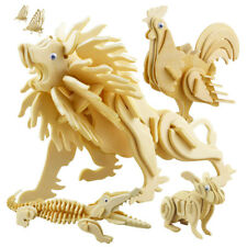 Lot 3D Puzzle Wooden Animal Model Jigsaw Craft Decor Education DIY Good Toy Gift