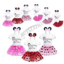 Infant Baby Girl Birthday Outfit Polka Dots Romper Tutu Skirt Dress Headband Set