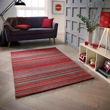 RED  BEIGE  100% Wool STRIPED Pattern HIGH QUALITY Modern Rug  Runner 25% OFF