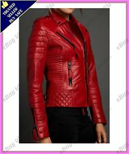 Womens Genuine Lambskin Motorcycle Real Leather Jacket Slim fit Biker Jacket #59