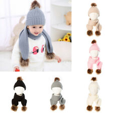 Toddler Kids Baby Boy Girls Winter Warm Pom Bobble Hat Knit Beanie Cap Scarf Set