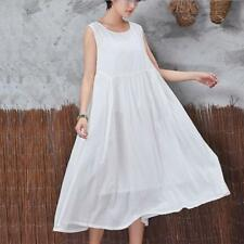 Plus Size Women Casual Loose Dress Cotton Linen Tunic Summer Long Shift Sundress