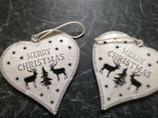 Shabby Chic White Glitter Hanging Christmas Tree Decorations Heart, Star, Tree