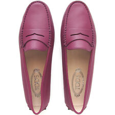 TOD'S Tods Gommini women's pink leather flats shoes loafers moccasins $440