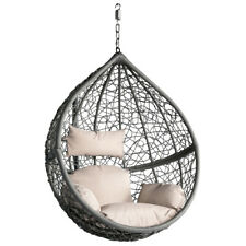 Black & Grey Hanging Swing Egg Chair Rattan Chair Patio Stand Hanging  Rattan