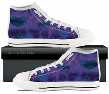 Blue and purple flaming hearts custom designed women's hightop sneakers - White