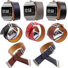 Genuine Leather Double Tour Wristband Watch Band Strap Bracelet for Fitbit ionic
