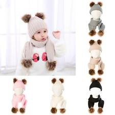Baby Girls Boys Toddler Winter Hat Scarf Set Cutest Warm Knit Beanie Cap Scarves