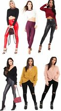 Womens Ribbed Twist Long Sleeves  Wrap Cross Front Crop With Sports Ladies Top