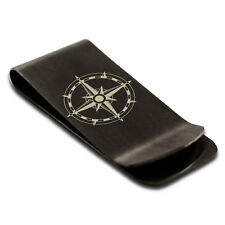 Stainless Steel Sun Dial Compass Symbol Engraved Money Clip Credit Card Holder