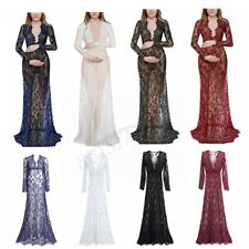 Plus Women Maternity Sexy See through Deep V Neck Lace Beachwear Maxi Dresses
