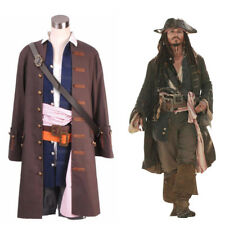 Pirates of the Caribbean Captain Jack Sparrow Cosplay Costume Christmas Full Set