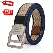 Men Canvas Belt Metal Double Buckle Fashion Outdoor Tactical High Quality New