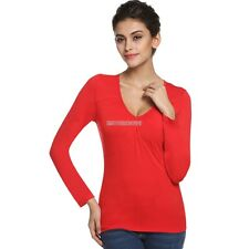 Women V-neck Long Sleeve Thin Spring Autumn Bottoming Blouse t-shirt tops ER99