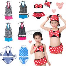 Kids Girls Tankini Set Top Bottoms Swimwear Swimsuit Bathing Suit Sports Costume