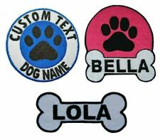 Personalised Dog Cat Name Embroidered Patches Iron On Dog Patch Pet Tag Badge