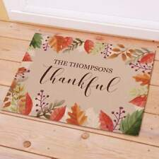 Personalized Thankful Fall Leaves Doormat Indoor Outdoor Gift Home Decor