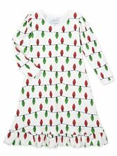 NEW Girls White All Lit Up Christmas Long Sleeve Nightgown by Sara's Prints