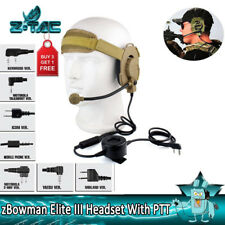 Z-tactical Bowman Evo III Military Headset With TCI Tactical PTT 2 Pins