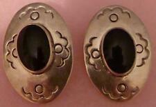 Vintage Sterling Silver Black Onyx Clip Earrings Made in Taxco Mexico Fine Jewls