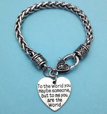 Custom Antique Silver Heart Lock Clasp Charm Bracelet You are my World Love One