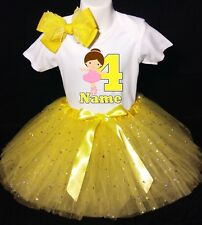 Ballerina --With NAME-- 4th Birthday Dress shirt 2pc Yellow Tutu outfit Dance