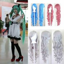 Hot Anime 80cm Women Long Curly Wavy Hair Wig Roll Fashion Costume Party Cosplay