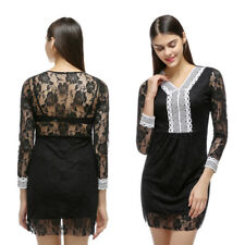 Womens Bodycon Cocktail Dress New Lace Dress Evening Party Dress V-neck
