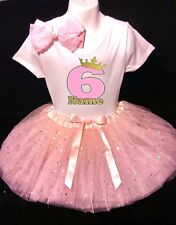 Princess Crown --With NAME-- 6th sixth Birthday Dress shirt 2pc Pink Tutu outfit