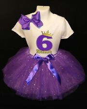 Princess Crown --With NAME-- 6th Birthday Dress shirt 2pc Purple Tutu outfit
