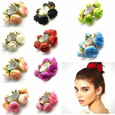 WOMEN GIRL ROSE FLOWER HAIR BAND ROPE ELASTIC PONYTAIL HOLDER SCRUNCHIE WONDROUS