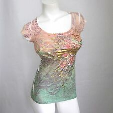 Sexy Gold Foil Sublimation Top Size S New Women Cap Sleeve Blouse Heart Wings