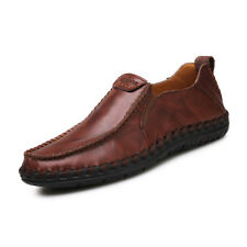 Driving Flats Shoes Mens Casual Cowhide Moccasins Slip On Loafers Shoes Size 10