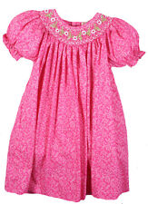 Girls Dress Pink Floral Smocked Float Spring Summer Petit Ami NWT 2T, 5 & 6X