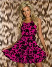 Women 5 Colors O-neck Floral Printed With Belt Party Skater Dress