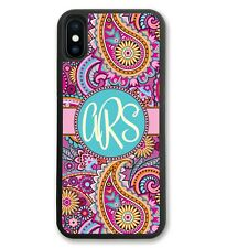 Monogram iPhone Case Pink Paisley for iPhone X, iPhone 10, iPhone 8, iPhone 8 +
