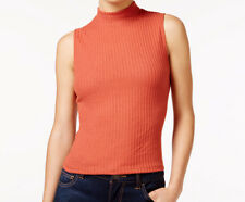 Juniors Sleeveless Fitted Knit Top Mock-Neck Ribbed Burnt Orange