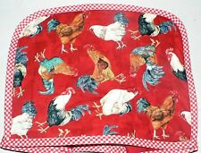 Quilted 2-4 Slice Toaster Cover Roosters  Made to Order SEND YOUR MEASUREMENTS!