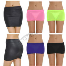 Women Stretch Micro Mini Skirt See Through Lingerie Costume Party Dance Clubwear