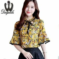 Women Floral Printed Flare Sleeved Shirt Printed Tops Bow Tie  Chiffon Blouse