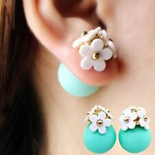 Fashion simulated pearl ball Earrings flower hiphop korea two side Jewelry Doubl